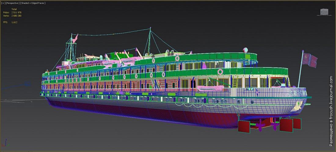 дизель-электроход Ленин 3D модель