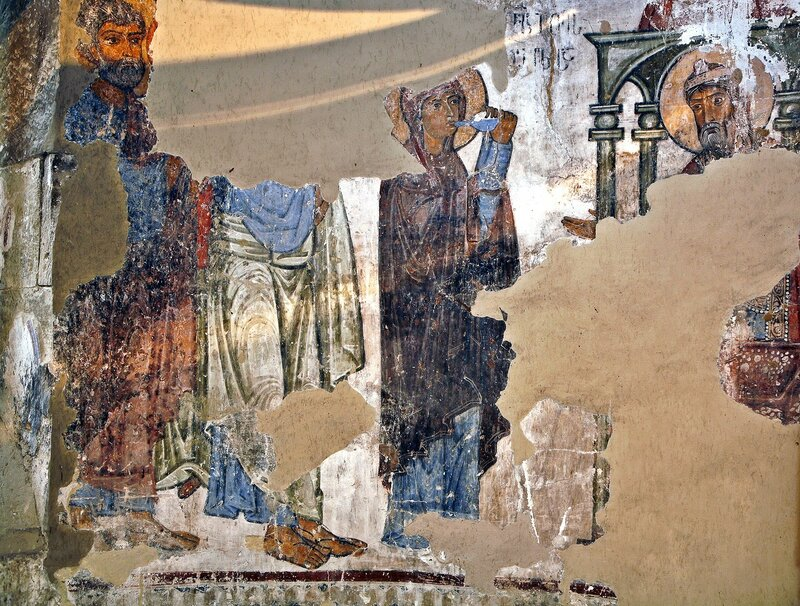 Испытание Богородицы водой обличения. Фреска XI века в храме Атени Сиони, Грузия.