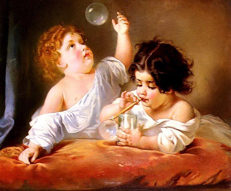 Henry Guillaume Schlesinger (FRENCH,1814-1893). Дети, пускающие мыльные пузыри