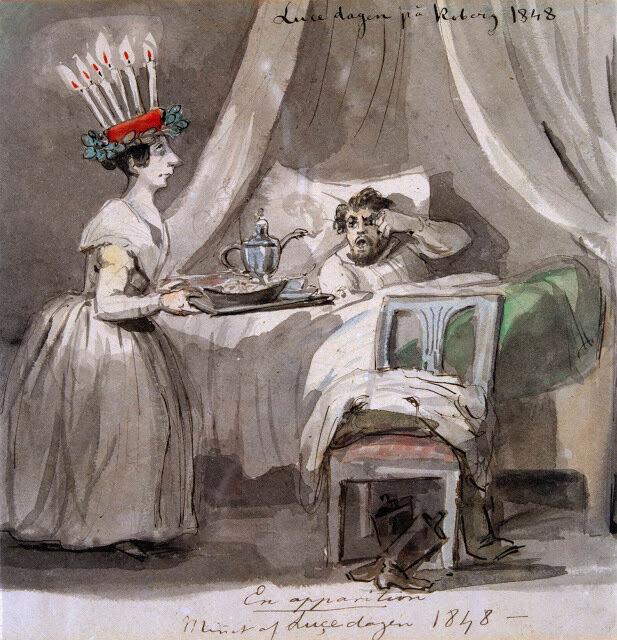 Luciafirande på Koberg i Västergötland 1848. Akvarell av Fritz von Dardel.