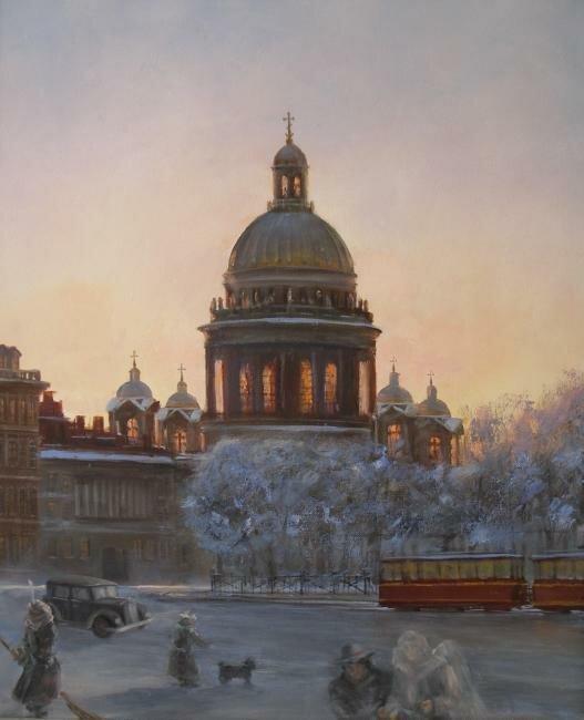 Алексей Соловьев - Прогулка в Сочельник. Холст,масло, 60 x 50см. 2007 г.