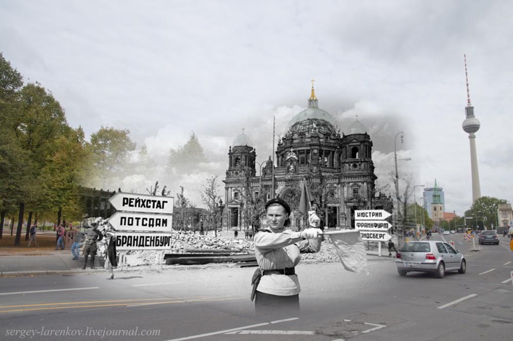 1 Берлин 1945-2014. Регулировщица у Берлинского Собора..jpg