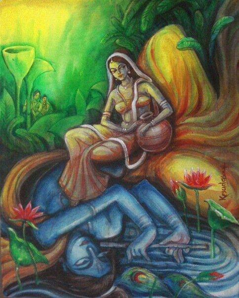 Шри Радха видит повсюду Шри Кришну, даже в ручье...