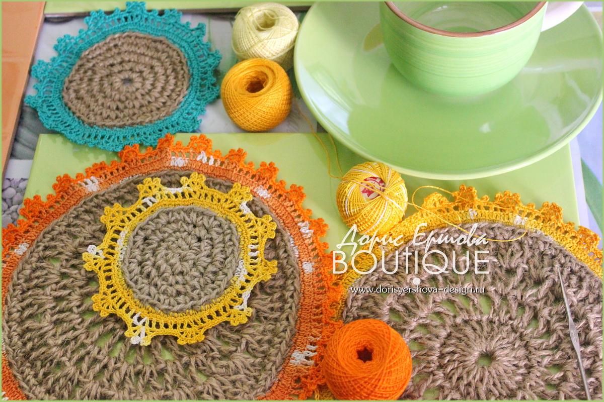 кружева, крючок, кружева крючком, кружева для штор, кружева для оформления кухни, кружева для декора кухни, кружевная сказка для декора кухни, зеленый, оранжевый, синий, салфетки, подхваты для штор, джут. ирис, хлопок, дизайн Дорис Ершовой, Дорис Ершова BOUTIQUE