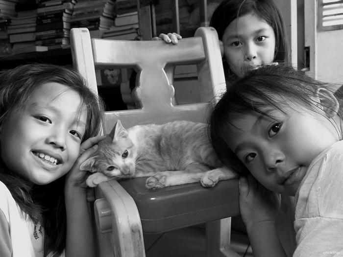 Фото: Ребенок и котёнок