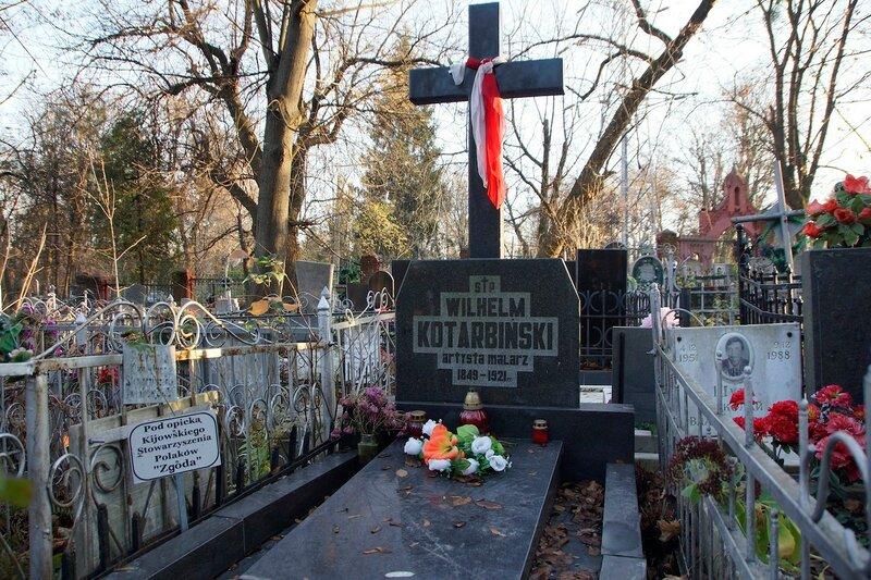 Nagrobek Wilhelma Kotarbińskiego na Cmentarzu Bajkowym w Kijowie (listopad 2013)
