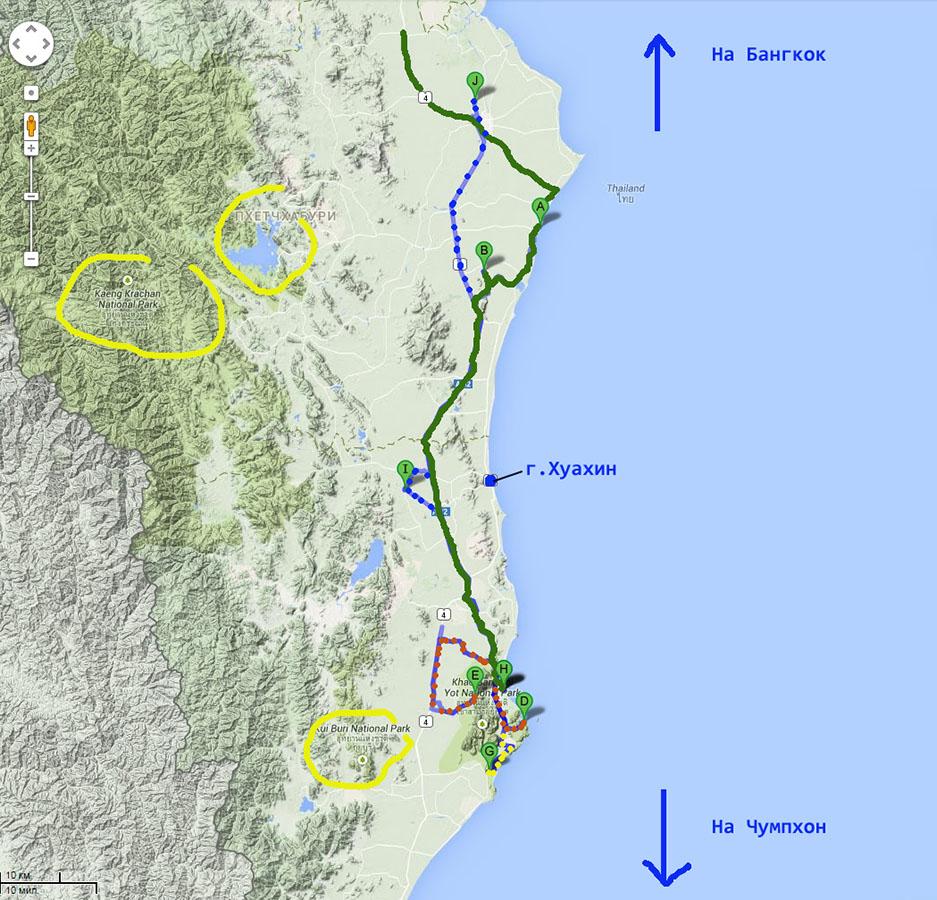 12. Карта со схемой расположения достопримечательностей в окрестностях Хуахина (Hua Hin). Отдых в Таиланде самостоятельно.