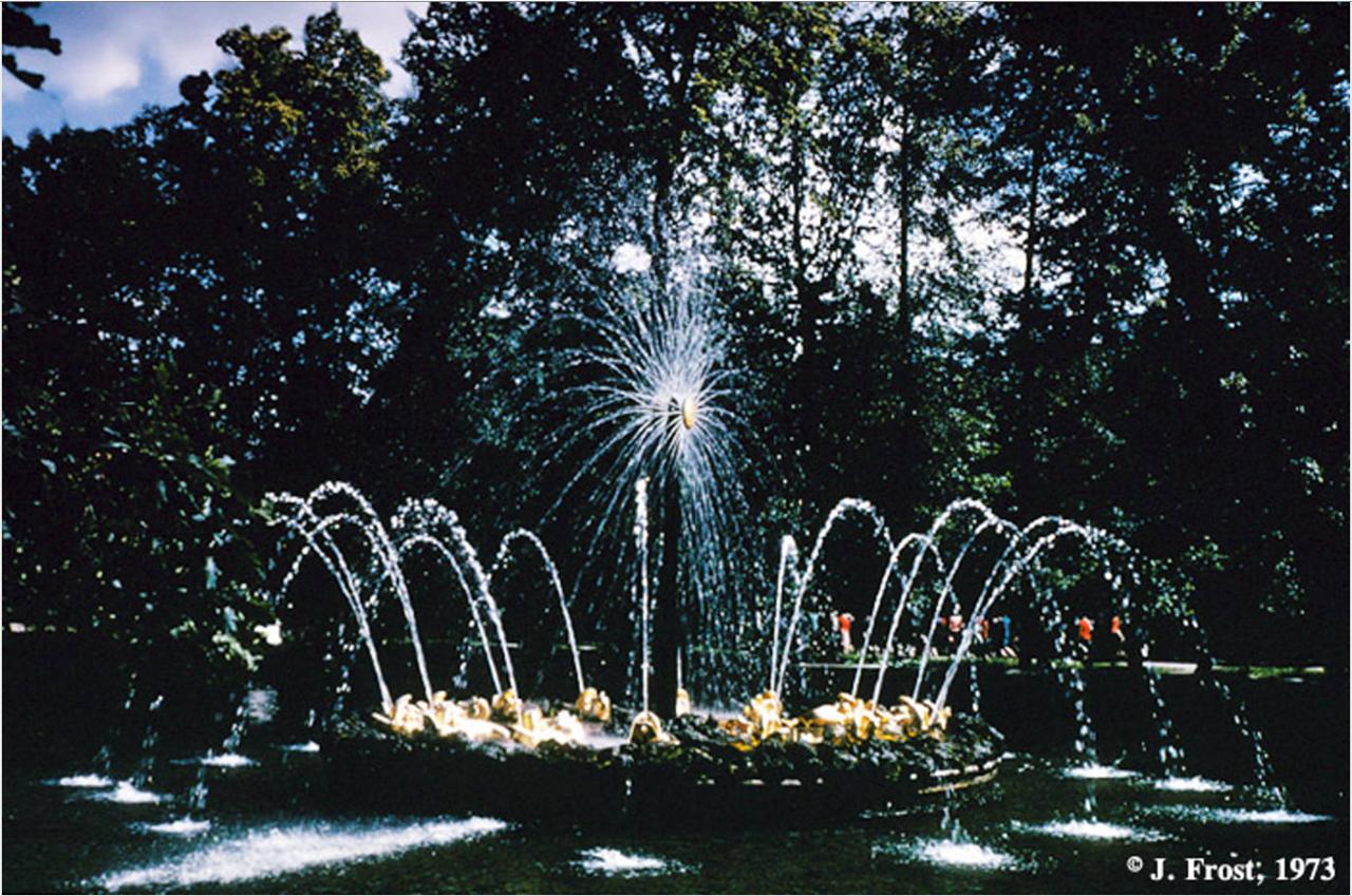 1973. Фонтан «Солнце» в зоологическом саду в Петергофе