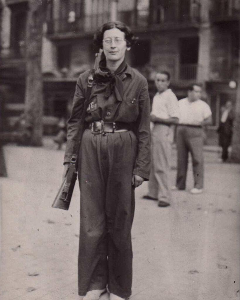 Simone Weil in Federación Anarquista uniform during the Spanish Civil War, 1936.jpg