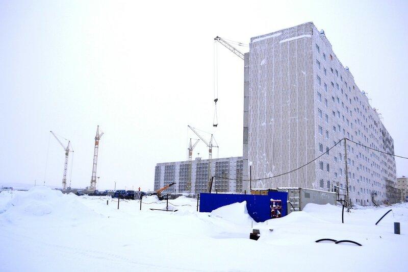 Строительство микрорайона олимпийский, город надым
