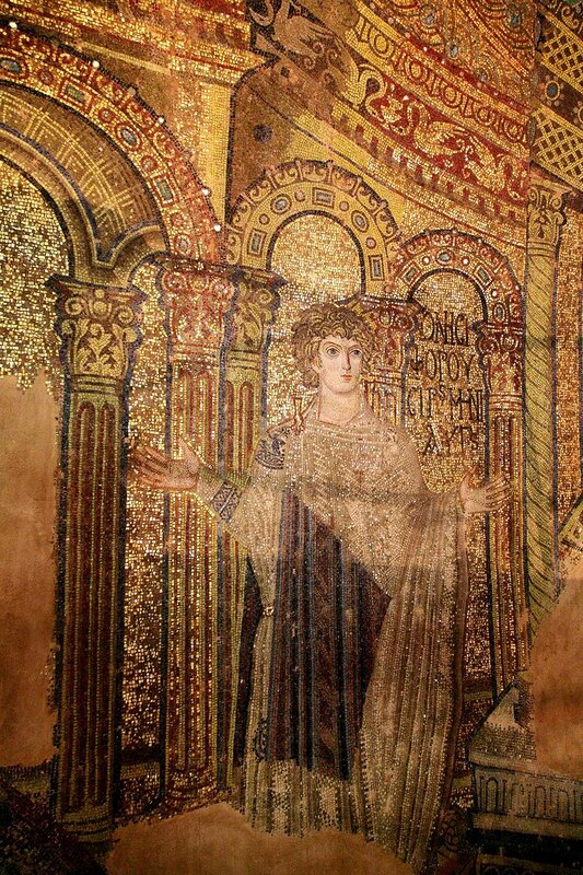 Святые мученики Онисифор и Порфирий. Мозаика церкви Св. Георгия (Ротонды) в Фессалониках, Греция. IV - V вв. Фрагмент. Св. Онисифор.