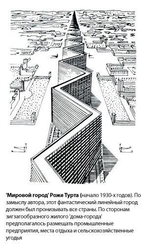 'Мировой город' Роже Турта (начало 1930-х годов). По замыслу автора, этот фантастический линейный город должен был пронизывать все страны. По сторонам зигзагообразного жилого 'дома-города' предполагалось размещать промышленные предприятия, места отдыха и сельскохозяйственные угодья