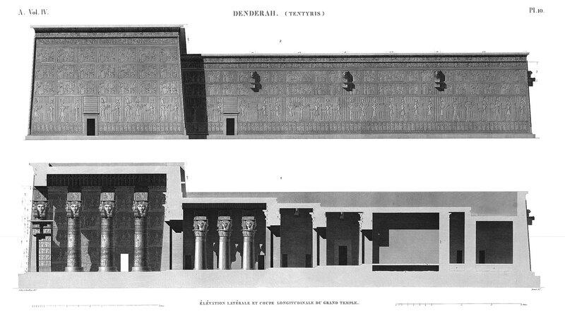 Святилище Хатхор в Дендре, Египет, боковой фасад и продольный разрез из Наполеоновского атласа