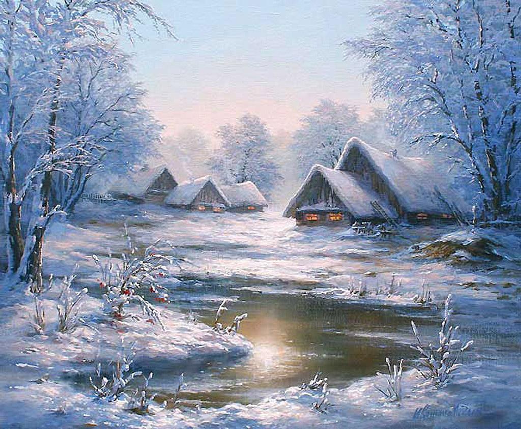 Зимние уютные домики в живописи Обсуждение на