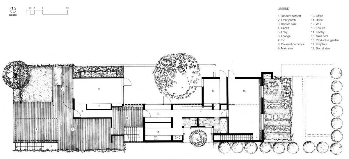 James Russell Architect, дома в Австралии, особняки в Клейфилде, дом с треугольной крышей, кирпичные стены в интерьере, план дома, схема частного дома