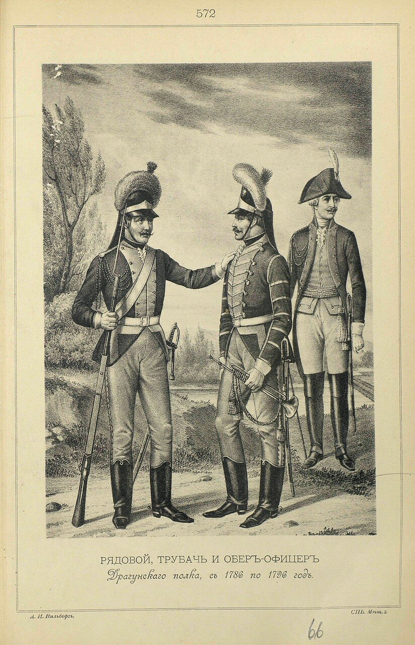 572. РЯДОВОЙ, ТРУБАЧ и ОБЕР-ОФИЦЕР Драгунского полка, с 1786 по 1796 год.