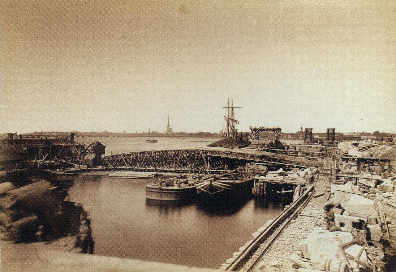 Строительство Литейного моста. Выборгский устой и бык № 4. 1 июля 1878
