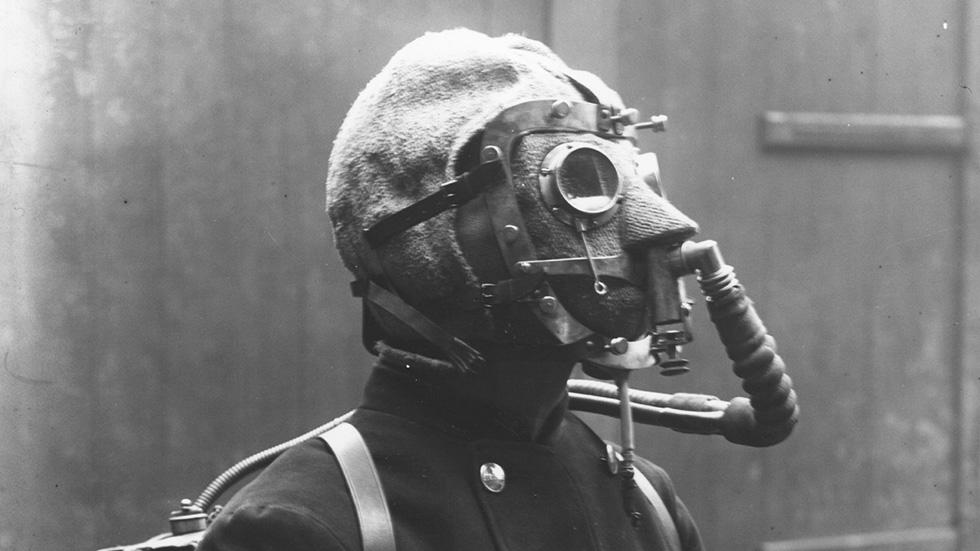 Unknown Photographer, A Fireman From the London Brigade Wearing a Smoke Helmet, (1908).jpg