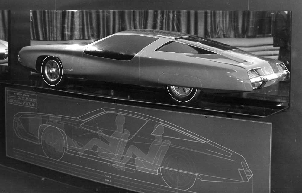 B-body Pontiac proposal from Advanced Pontiac studio. Half clay model against a mirror 2.jpg