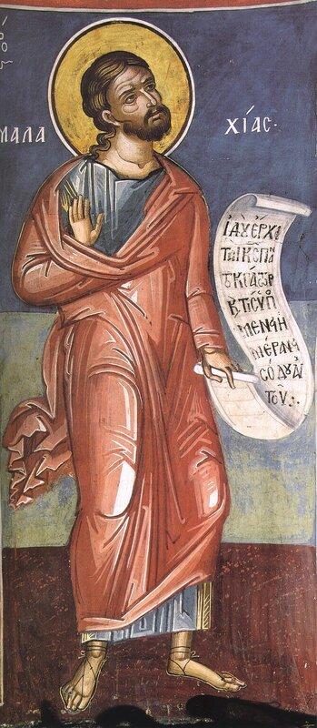 Святой Пророк Малахия. Фреска XVI века в монастыре Дионисиат на Святой Горе Афон.