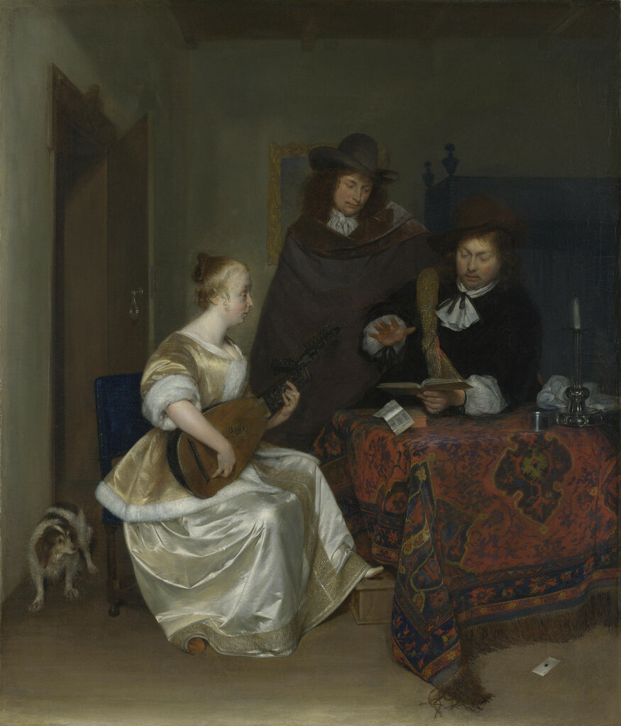 A Woman playing a Theorbo to Two Men