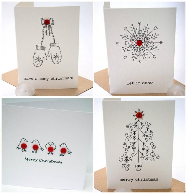 Для того, чтобы сотворить эти восхитительные открытки, вам понадобится только черная ручка, красные