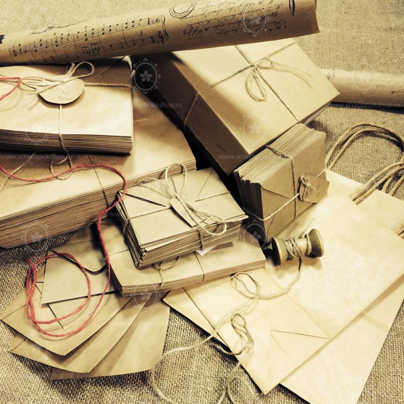 Крафт-бумага, коробки, крафт-конверты, пакеты и джутовая веревка для упаковки ваших подарков. Магазины в Москве и Санкт-Петербурге и интернет-магазин товаров для творчества Скрапбукшоп www.scrapbookshop.ru