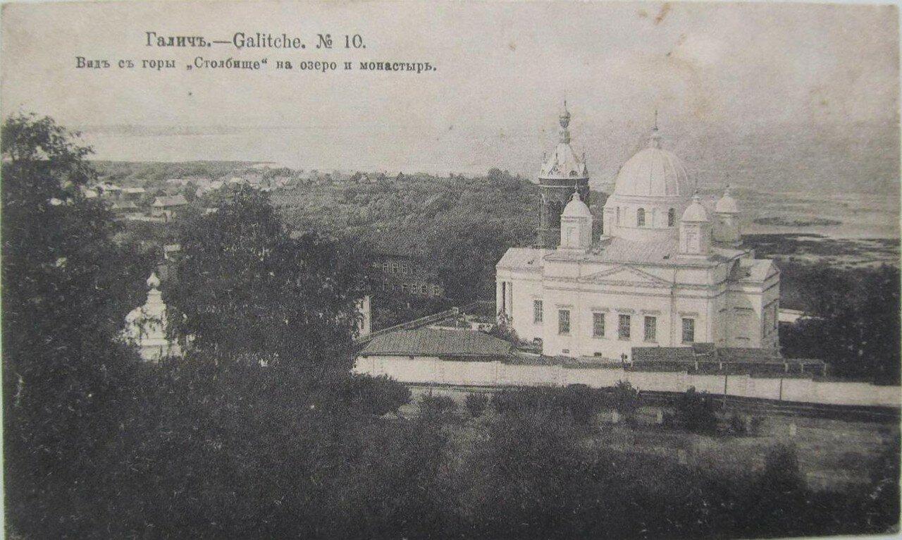 Вид горы Столбище на озеро и монастырь