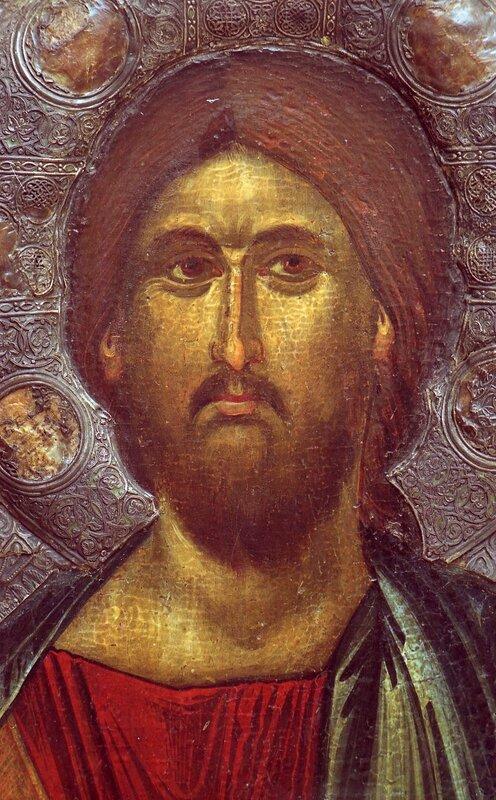 Христос Душеспаситель. Икона. Константинополь. Около 1312-1325 годов. Галерея икон в Охриде. Фрагмент.