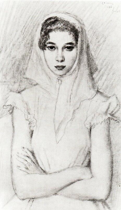 Портрет девушки, 1956 г., графитный карандаш | Portrait of a girl, 1956
