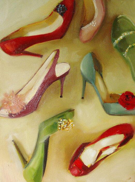 Красные туфли, платье, помада.  Художница Janet Hill