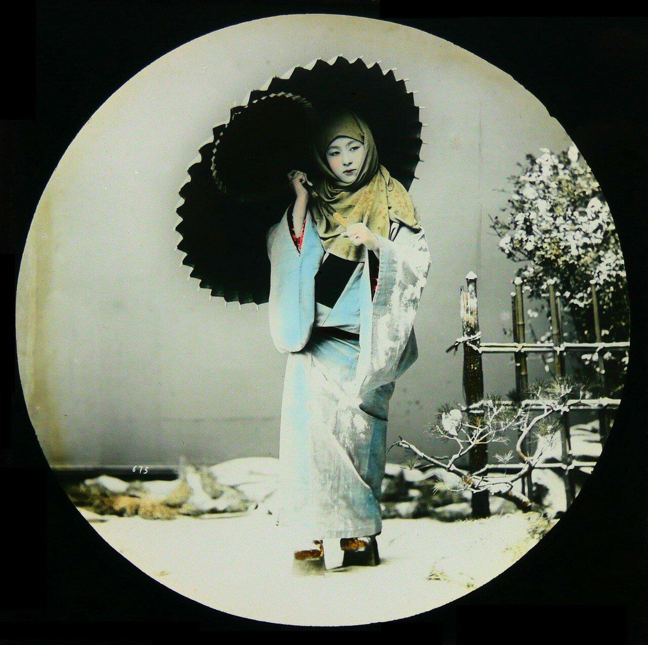 Японка в зимней одежде