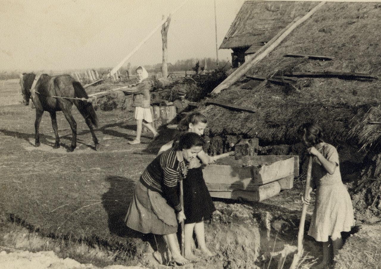 Заготовка глины. Производство кирпича для печи, Фото Семака Франца 1937