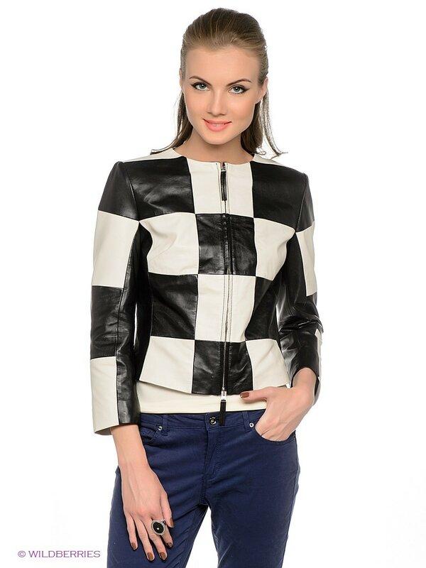 Кожаная куртка в чёрно-белую клетку