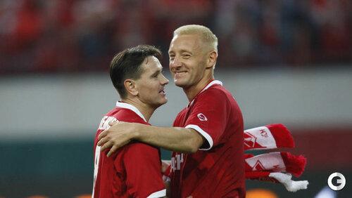 Дмитрий Аленичев и Андрей Тихонов на прощальном матче