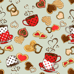 Seamless pattern of teacups and cookies