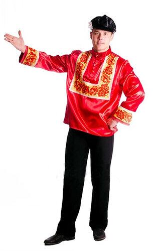 Мужской карнавальный костюм Русский красный с узором