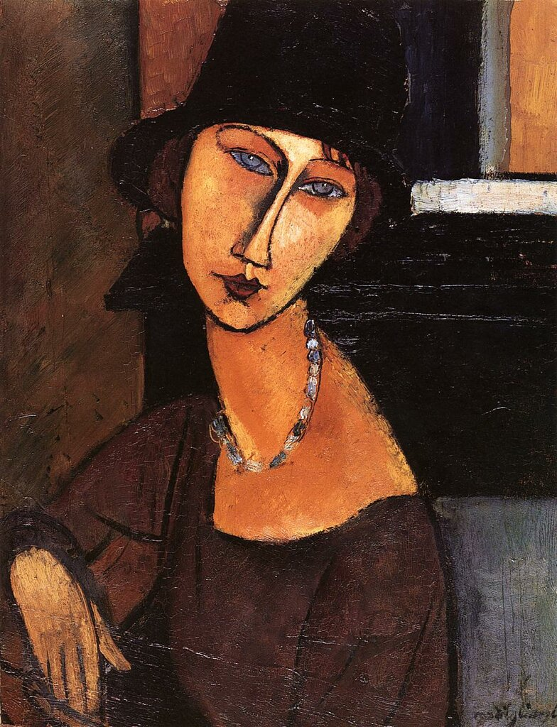 Jeanne Hebuterne with Hat and Necklace - 1917 - Private collection - Painting - oil on canvas.jpeg