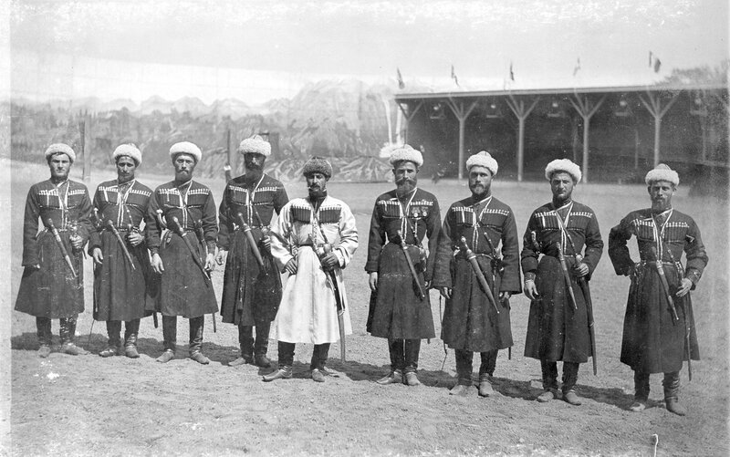 A group of Russian Georgian Cossacks pose for Buffalo Bill's Wild West Show at Ambrose Park in Brooklyn, New York, 1894