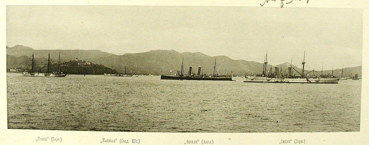 26. Иностранные корабли, стоящие на рейде (слева направо): Marie (Германия), Machias (США), Aeolus (Англия), Irene( Германия). Чифу. апрель 1895