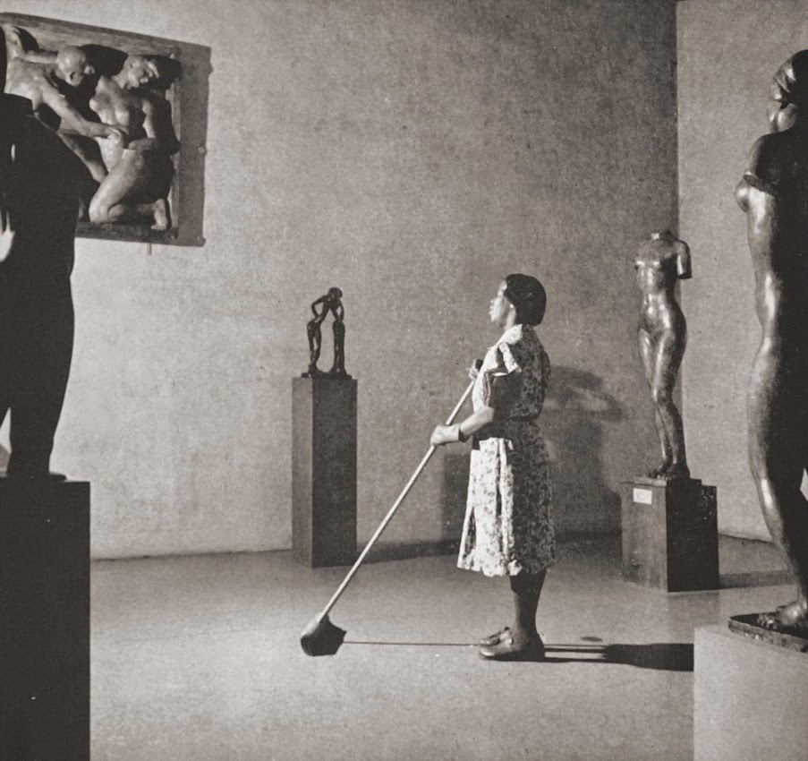 Cleaning woman in MOMA, 1950s Photographer_ Fritz Henle