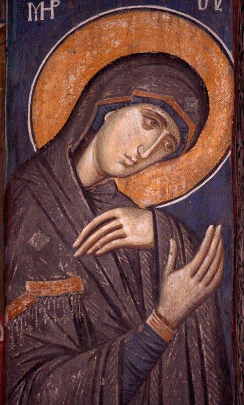 Пресвятая Богородица. Фреска монастыря Высокие Дечаны, Косово, Сербия. Около 1350 года.