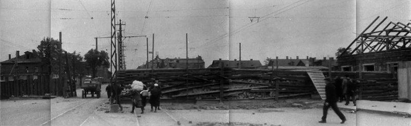 Панорама баррикады на проспекте Стачек напротив Кировского завода. 1941.
