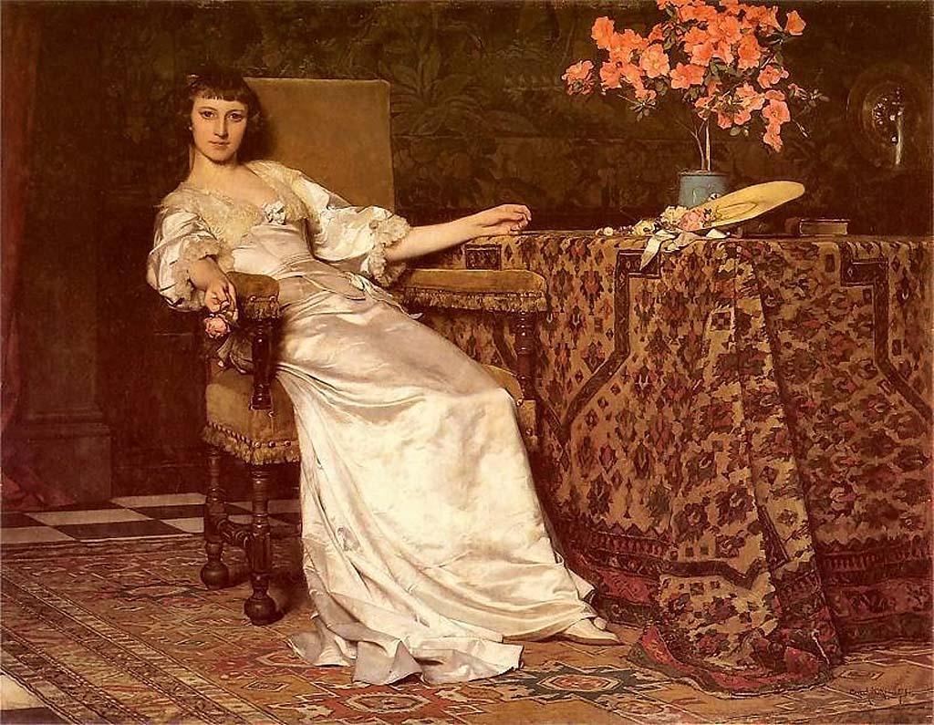 Дама с розой 1879,Чахурский, Владислав(1850-1911); Władysław Czachórski; (1850-1911); .