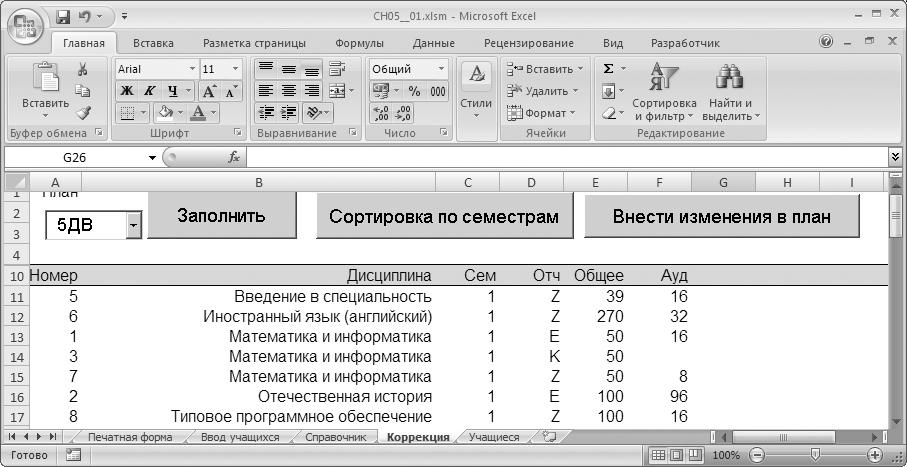 Рис. 5.14. Лист коррекции учебных планов