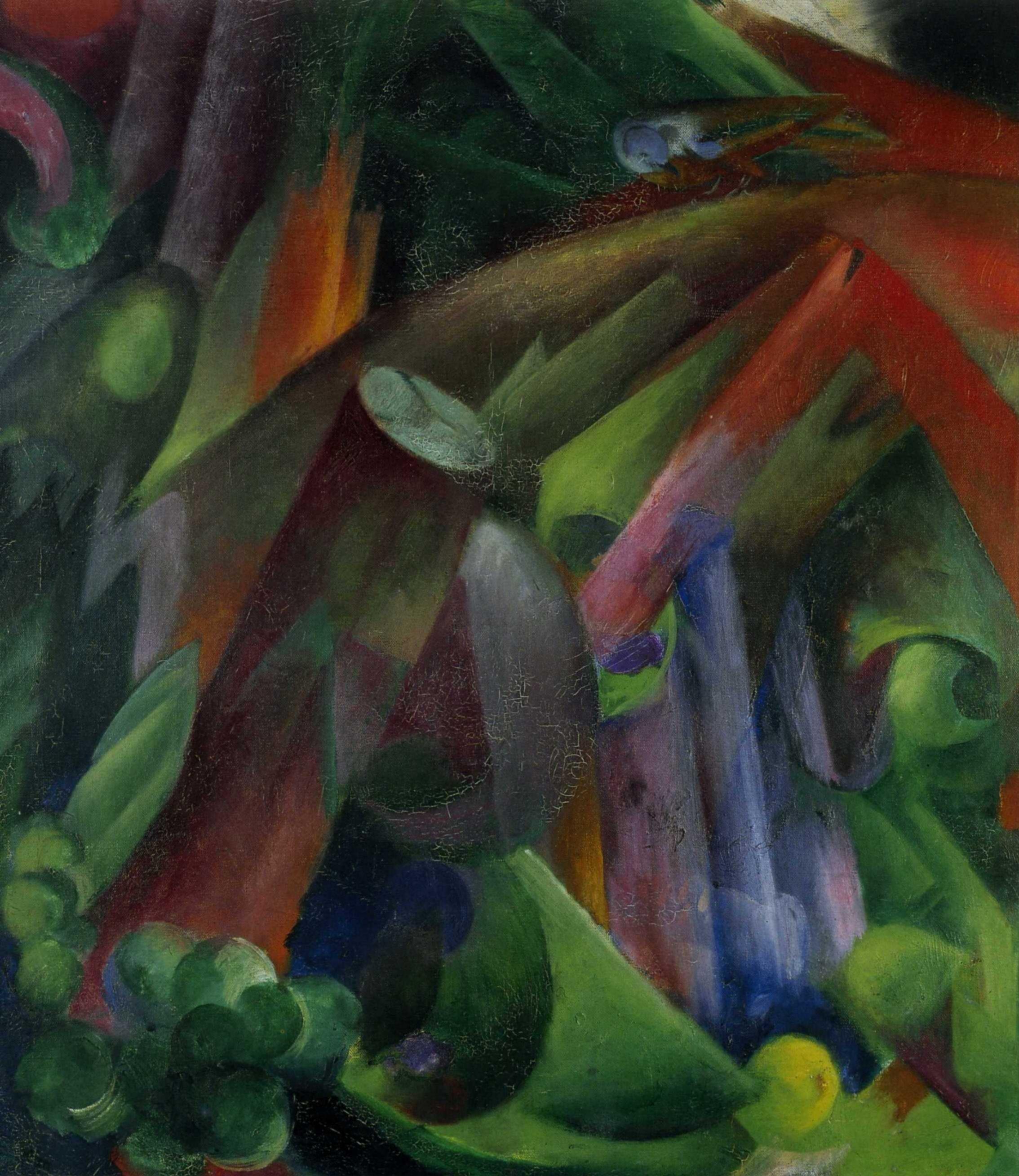 Франц Марк (1880  — 1916) — немецкий живописец, яркий представитель немецкого экспрессионизма. 1912. «Внутренние леса С Птицей»