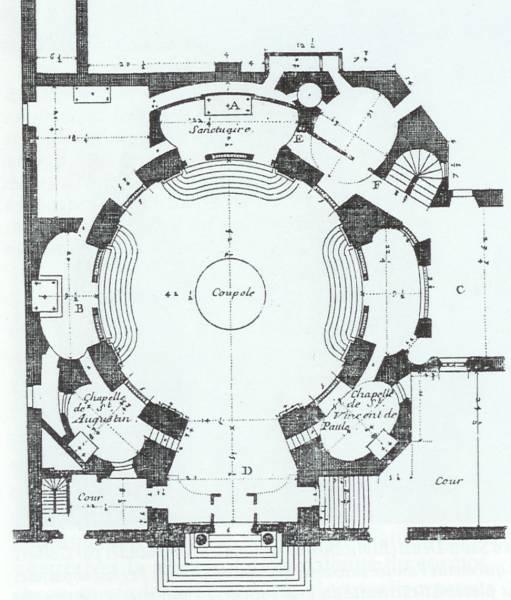 022c -Paris, kostel Ste-Marie-de-la Visitation, pudorys, Francois Mansart, 1632-33.jpg