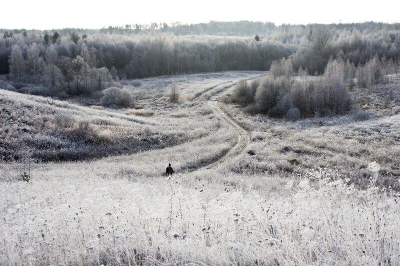 Псковская область, морозное утро в ноябре, дорога в деревню Петровка