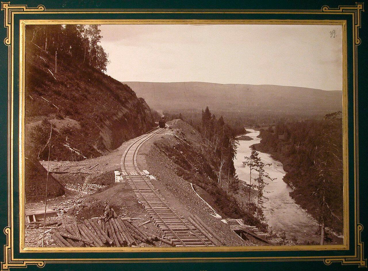 39. Вид одного из участков строительной дороги (на берегу реки Сатки). 697-я верста, 1885-1889