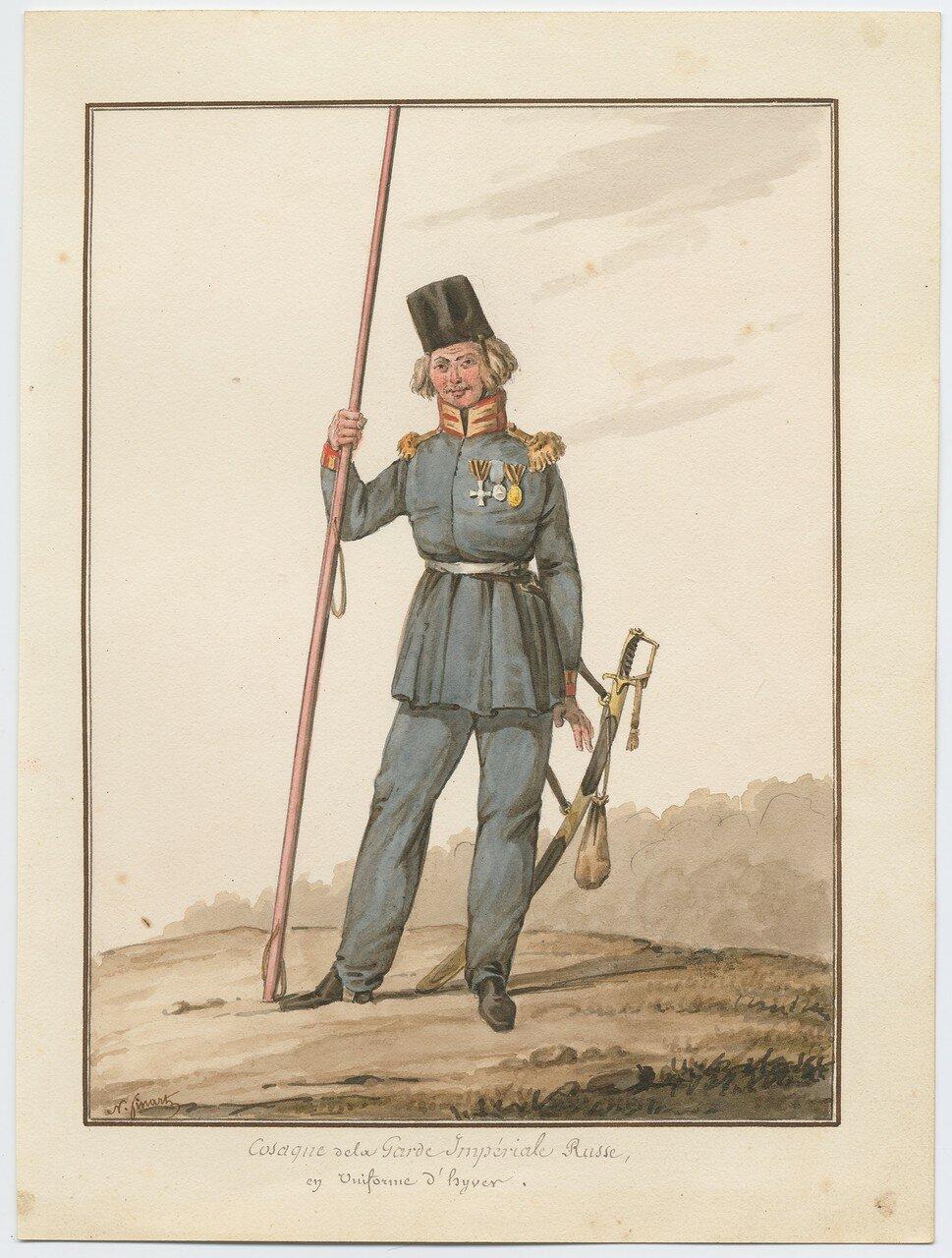 Казак русской императорской гвардии в зимней форме 1815